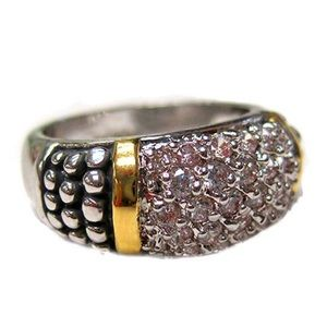 Two Tone Pavé Ring, sz 6 or 7, NWT